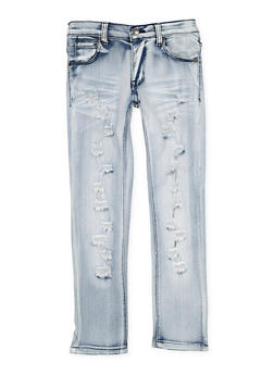 Girls 7-16 Whisker Wash Distressed Jeans - 3629063400040