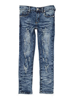 Girls 7-16 Distressed Whisker Wash Jeans - 3629063400041