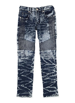 Girls 7-16 Acid Wash Moto Jeans - 3629063400042