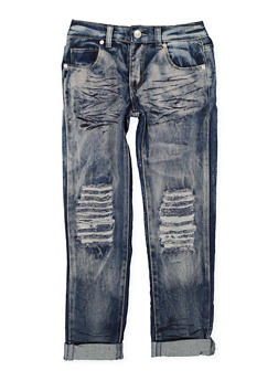 Girls 7-16 Bleached Ripped Knee Jeans - 3629063400044