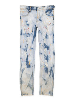 Girls 7-16 Paint Splatter Distressed Jeans - 3629063400046