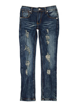 Girls 7-16 Ripped Whisker Wash Jeans - 3629063400048