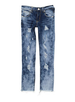 Girls 7-16 Distressed Frayed Hem Jeans - 3629063400049
