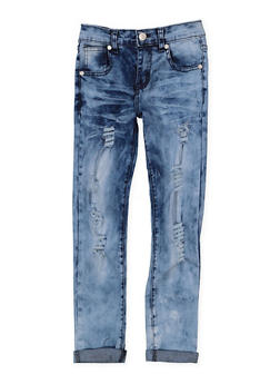 Girls 7-16 Distressed Acid Wash Skinny Jeans - 3629063400050