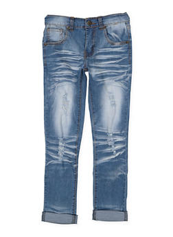 Girls 7-16 Distressed Whisker Wash Skinny Jeans - 3629063400053