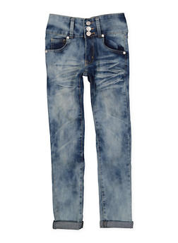 Girls 7-16 Cuffed Whisker Wash Jeans - 3629063400054