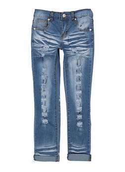 Girls 7-16 Cuffed Destruction Jeans - 3629063400056