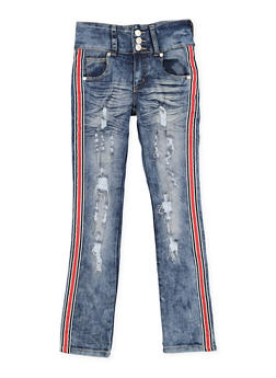 Girls 7-16 Striped Tape Destroyed Jeans - 3629063400062