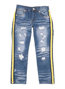 Girls 7-16 Striped Tape Trim Jeans - 3629063400063