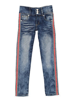 Girls 7-16 Striped Side Tape Skinny Jeans - 3629063400065