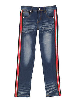 Girls 7-16 Striped Tape Jeans - 3629063400066