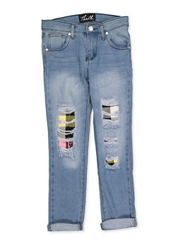 Girls 7-16 Plaid Insert Jeans - 3629063400073