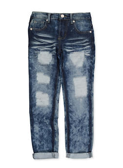 Girls 7-16 Distressed Whisker Wash Jeans | 3629063400074 - 3629063400074