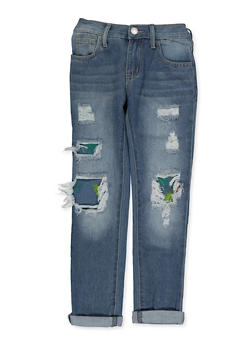Girls 7-16 Paint Splatter Rip and Repair Jeans - 3629063400083
