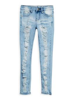 Girls 7-16 VIP Ripped Light Wash Skinny Jeans - 3629065300049