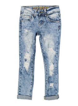 Girls 7-16 VIP Ripped Acid Wash Jeans - 3629065300086