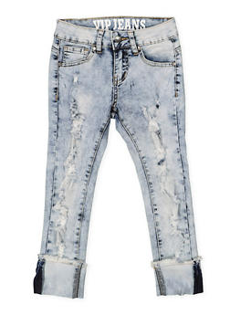 Girls 7-16 VIP Love Graphic Cuff Jeans - 3629065300087