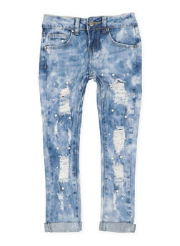 Girls 7-16 VIP Faux Pearl Studded Jeans - 3629065300096