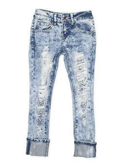 Girls 7-16 VIP Destruction Roll Cuff Jeans - 3629065300098