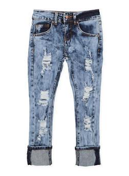 Girls 7-16 VIP Distressed Acid Wash Jeans - 3629065300099