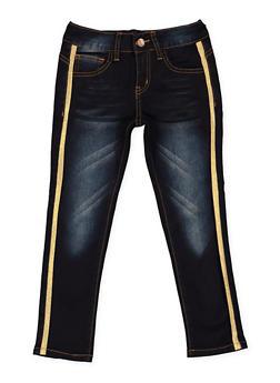Girls 7-16 VIP Ribbon Trim Jeans - 3629065300102