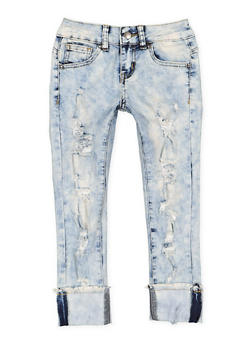 Girls 7-16 VIP Destruction Roll Cuff Jeans - 3629065300106
