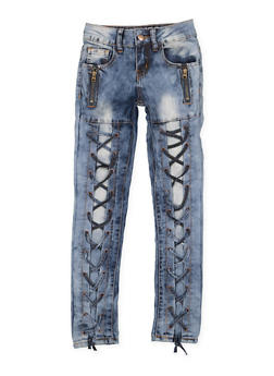 Girls 7-16 VIP Zip Lace Up Jeans - 3629065300107