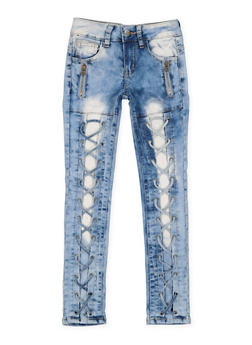 Girls 7-16 VIP Zip Lace Up Jeans - 3629065300108