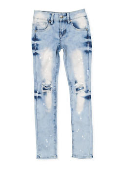 Girls 7-16 VIP Paint Splatter Patch and Repair Jeans - 3629065300110