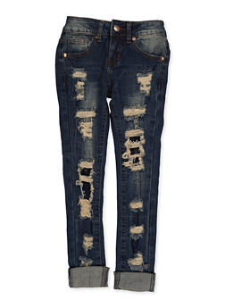 Girls 7-16 VIP Rip and Repair Cuffed Jeans - 3629065300120
