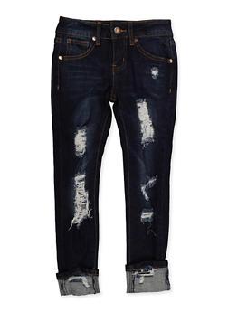 Girls 7-16 VIP Distressed Roll Cuff Jeans - 3629065300124