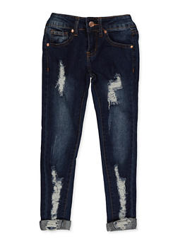 Girls 7-16 VIP Destroyed Roll Cuff Skinny Jeans - 3629065300126