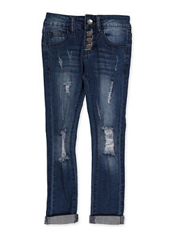 Girls 7-16 VIP 4 Button Ripped Jeans - 3629065300128