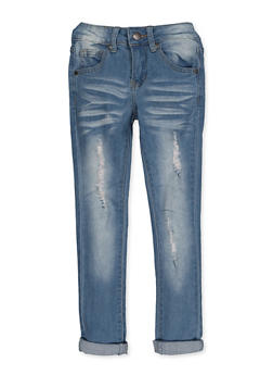 Girls 7-16 VIP Whisker Wash Distressed Jeans - 3629065300130