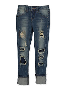 Girls 7-16 VIP Ripped Roll Cuff Jeans | 3629065300131 - 3629065300131