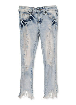 Girls 7-16 VIP Acid Wash Frayed Hem Skinny Jeans - 3629065300134