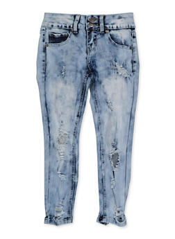 Girls 7-16 VIP Distressed 2 Button Skinny Jeans - 3629065300140