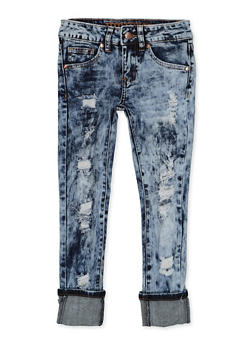 Girls 7-16 VIP Rolled Cuff Distressed Jeans - 3629065300143
