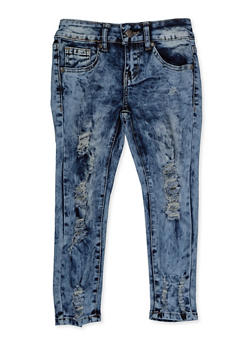 Girls 7-16 VIP Distressed Acid Wash Skinny Jeans - 3629065300148