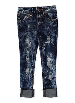 Girls 7-16 VIP Rolled Cuff Acid Wash Jeans - 3629065300152