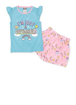Girls 7-16 Im Just a Dreamer Pajama Top and Shorts Set - 3630009380001