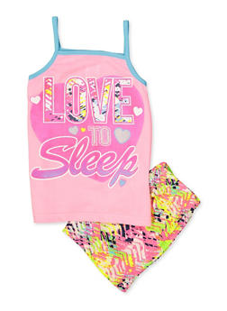 Girls 7-16 Love to Sleep Pajama Tank Top and Shorts Set - 3630009380004