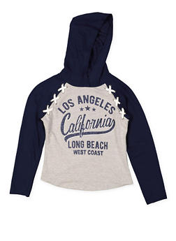 Girls 7-16 Glitter Graphic Hooded Top - 3631023130002
