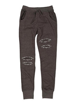 Girls 7-16 Studded Slashed Sweatpants - 3631023130005