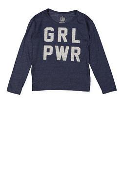 Girls 7-16 Glitter Graphic Long Sleeve Tee - 3631023130006