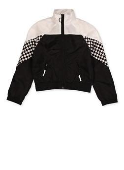 Girls 7-16 Checkered Detail Windbreaker Jacket - 3631051060005