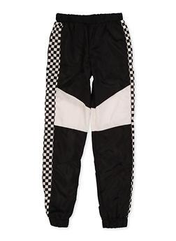 Girl 7-16 Checkered Trim Windbreaker Joggers - 3631051060006