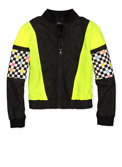 Girls 7-16 Checkered Color Block Bomber Jacket - 3631051060009