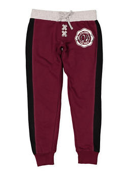 Girls 7-16 Love Graphic Lace Up Joggers - 3631061950017