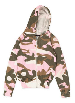 Girls 7-16 Camo Zip Front Sweatshirt - 3631063400081